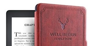 """ProElite Deer Smart Flip case Cover for All Amazon Kindle 6"""" 10th Generation 2019, Wine Red"""